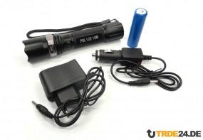 18W Police CREE LED Taschenlampe mit Zoom Fokus und 3400 mAh Akku